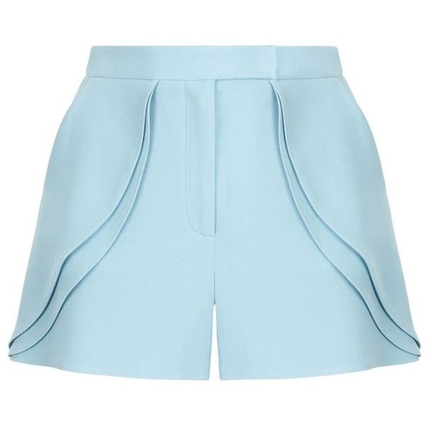 Elie Saab Tailored Ruffle Shorts ($845) ❤ liked on Polyvore featuring shorts, elie saab, laced shorts, frilly shorts, tailored shorts and shiny shorts