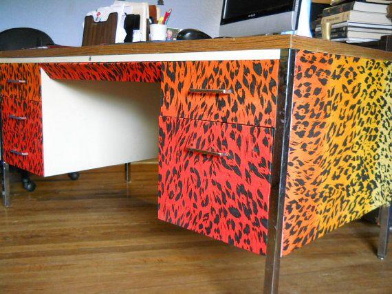 Hon Classic Industrial Teacher Metal desk by PerfectlyGoodStuff, $400.00: Desks Custom, Teacher Metals, Industrial Teacher, Classic Industrial, Leopards Prints, Kindness Leopards, Metals Desks, Desks Covers, Hon Classic