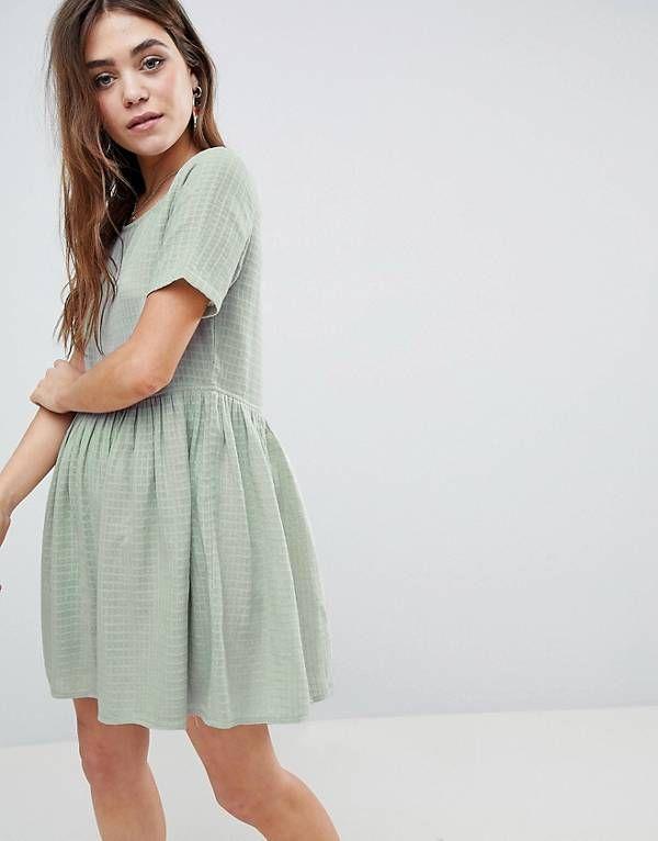 cea2d973de3 ASOS Casual Mini Smock Dress in Grid Texture