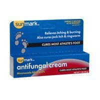 Sunmark Sunmark Antifungal Cream Miconazole Nitrate 2%, 1 oz by Sunmark. $3.30. Clinically proven to cure most athletes foot (tinea pedis), jock itch (tinea cruris) and ringworm (tinea corporis). Effectively soothes and relieves symptoms of athletes foot including itching, scaling, burning and discomfort.