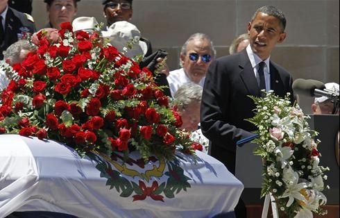 "And when the former KKK member, Senator Robert Byrd died, Barack Obama gave the eulogy:""He was a Senate icon, he was a party leader, he was an elder statesman, and he was my friend,"" Obama told thousands who gathered for Byrd's funeral ."