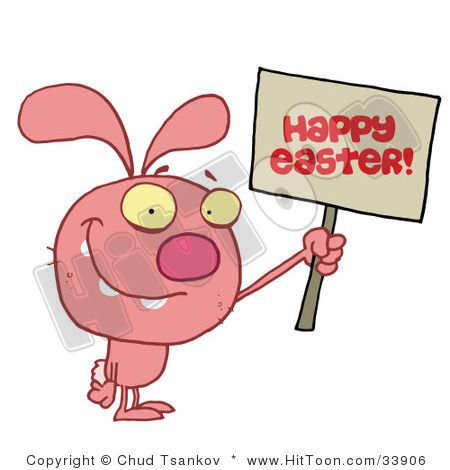 Royalty Free Holiday Clipart Picture Of A Grinning Pink Rabbit Holding Up Happy Easter Greeting Sign On White Background Clip By Hit Toon