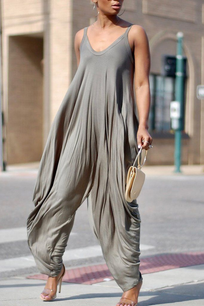 3ad0c12132 Sleeveless Solid Color Casual Jumpsuit