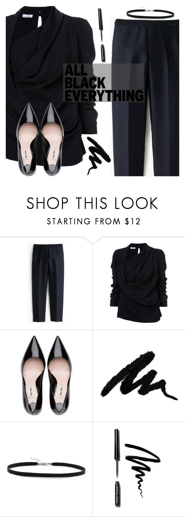 """""""Mission Monochrome: All-Black Outfit"""" by oliverab ❤ liked on Polyvore featuring J.Crew, Oscar de la Renta, BillyTheTree, Bobbi Brown Cosmetics and allblackoutfit"""