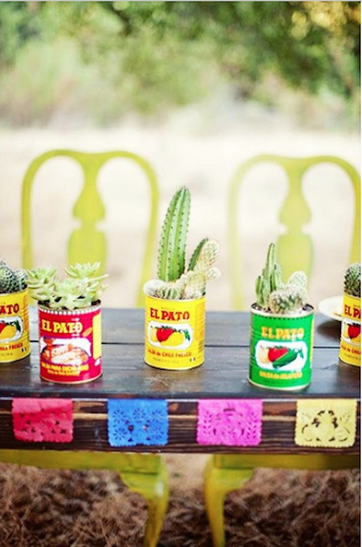 Cinco de Mayo inspiration - el pato bean cans as cactus plant holders, tacos and tequila themed party