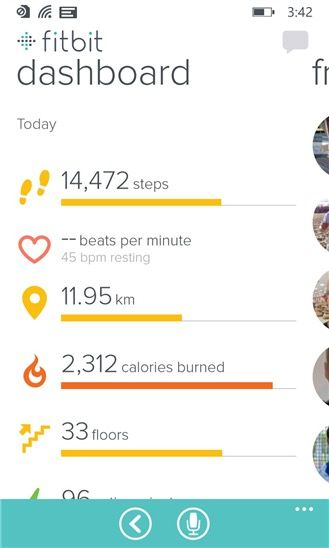 Windows Phone Fitbit Dashboard