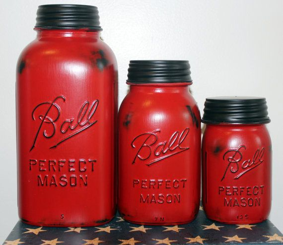 Hey, I found this really awesome Etsy listing at https://www.etsy.com/listing/177507838/3-piece-red-mason-jar-canister-set