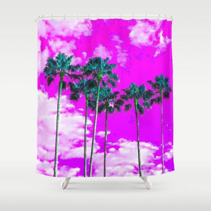purple shower curtain tropical bath decor coastal bathroom accessories palm tree shower curtain - Bathroom Accessories Etsy
