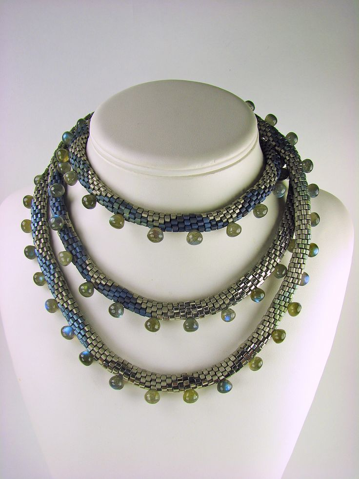 Sea Serpent Labradorite Beaded Necklace by Julie Long Gallegos (Beaded Necklace) | Artful Home