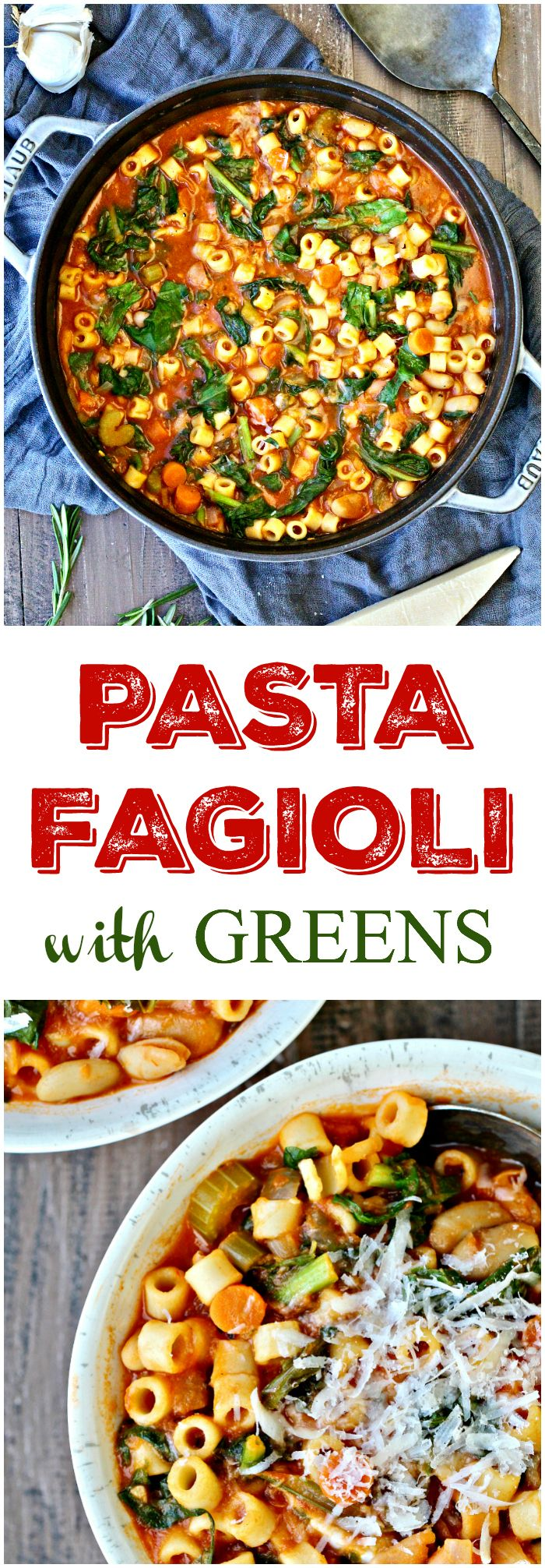 This Pasta Fagioli with Greens is a comforting, stick-to-your-ribs soup that's satisfying and full of flavor!