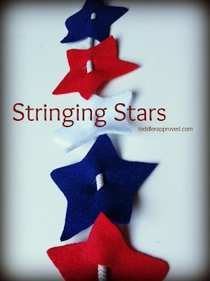 Toddler Approved!: Stringing Stars! Just get some red, white, and blue stars, cut a hole and loop a shoe string in them! Great activities for kids to do at a barbeque!