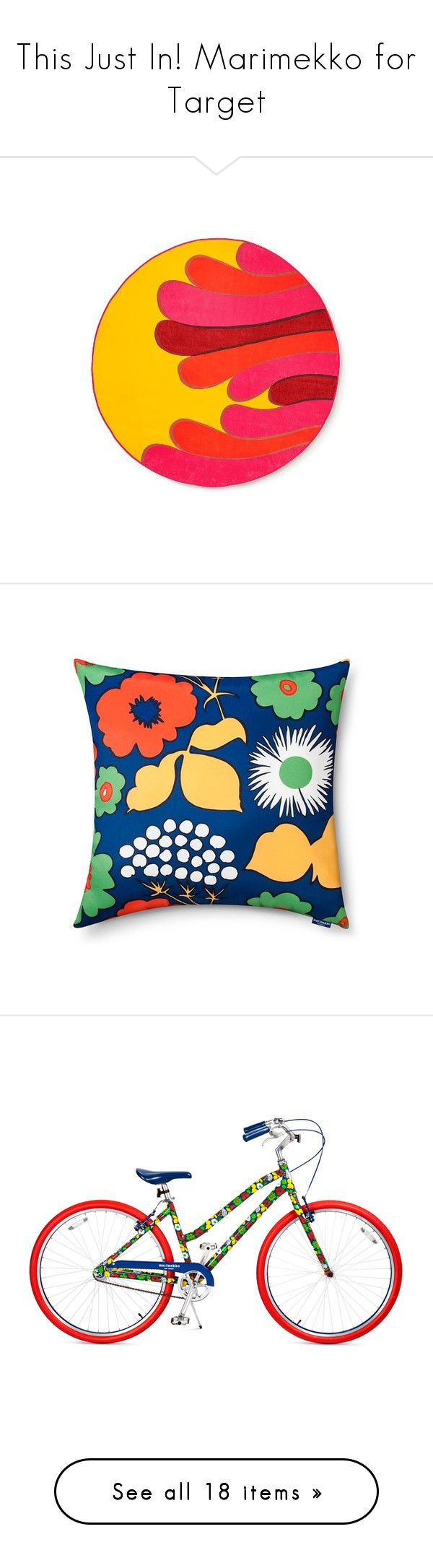 """This Just In! Marimekko for Target"" by polyvore-editorial ❤ liked on Polyvore featuring target, Marimekko, home, bed & bath, bath, beach towels, rugs, kitchen & dining, serveware and home decor"