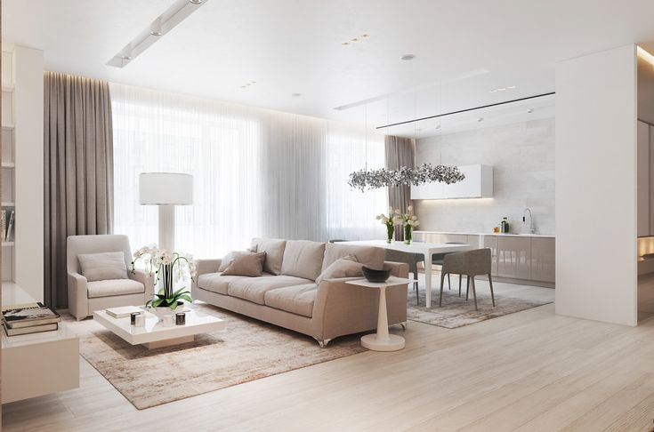 With a floorplan just under 100 square meters, the single large window provides more than enough light to brighten the entire home. Two layers of curtains offer a choice between blackout beige and gossamer white. They gather in a gentle bunch on the floor and slim niche hides the hardware above for an incredibly clean look.