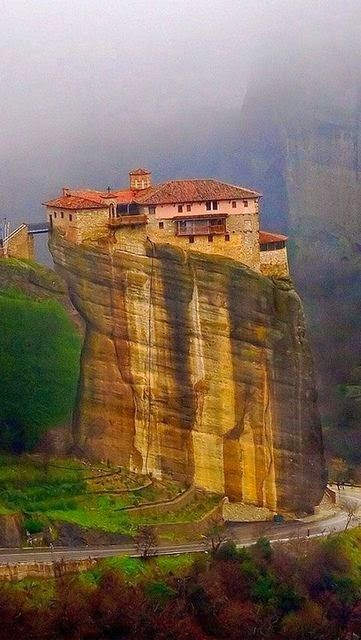 Meteora, Greece- Meteora (meaning:suspended in the air) is a complex of huge, natural, sandstone, rock pillars on top of which a greek orthodox monastery was built