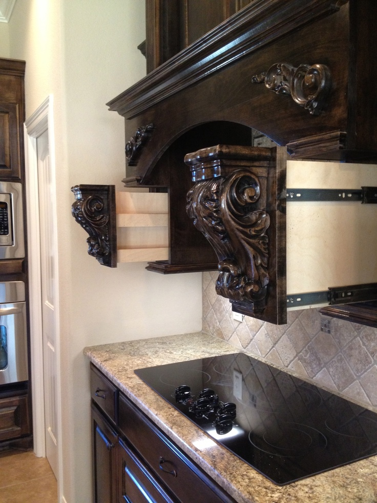 Spice rack above stove in my new home.