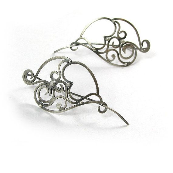 hammered openwork Heart silver earrings Boucles by byPiLLowDesign, $90.00