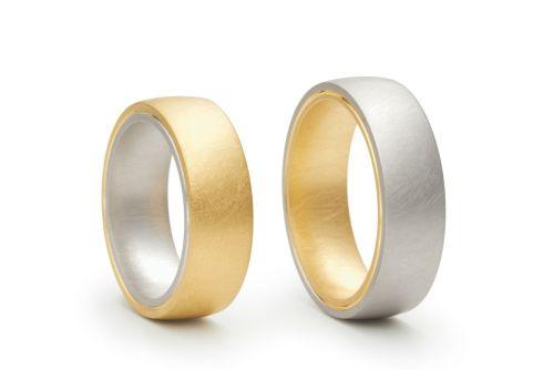 Individuelle Trauringe, Design: Niessing 750/- Gelbgold, 750/- Weißgold