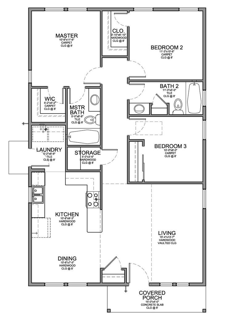 Floor plan for a small house 1 150 sf with 3 bedrooms and Three bedroom house plan and design