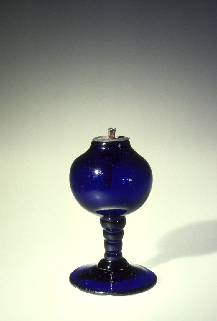 Small Cobalt Blue Blown Glass Whale Oil Lamp 1800 1820