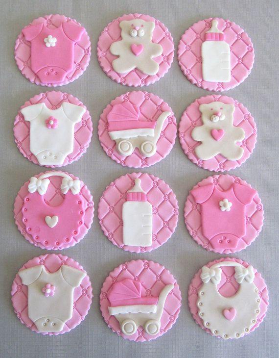 Bebé ducha Cupcake Toppers Pastillaje por MilkandHoneyCakery