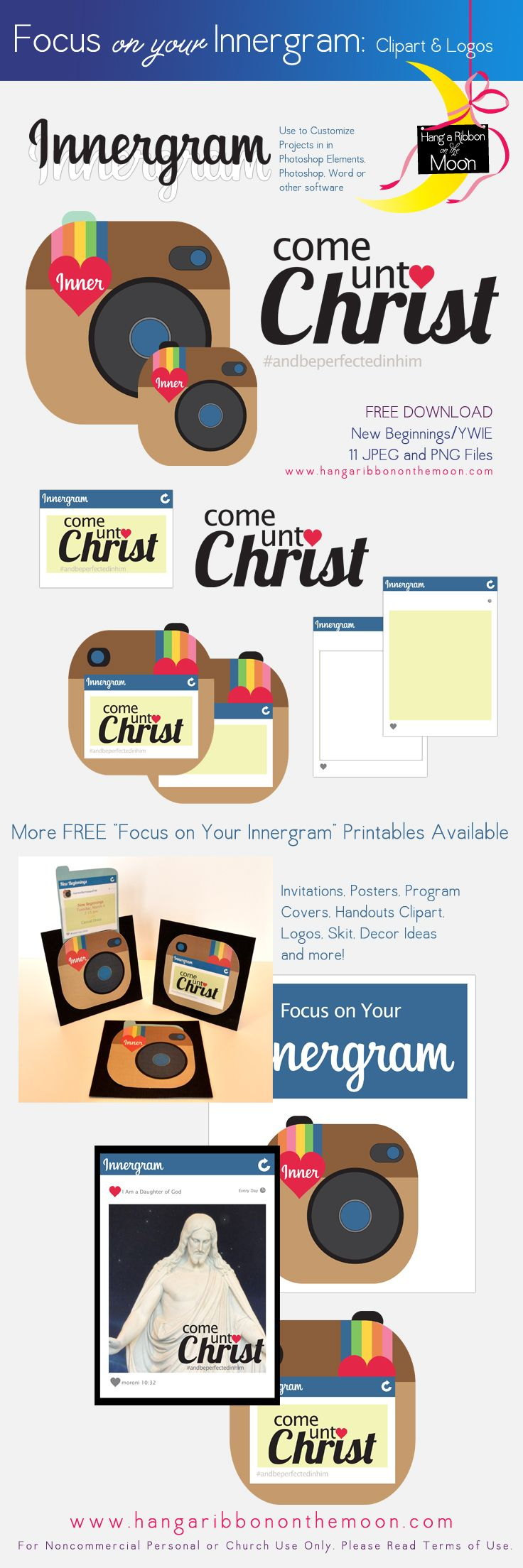 Focus on Your Innergram: Clipart & Logos for New Beginnings, YWIE, Girls Camp, Youth Conf. Tons of FREE Printables!