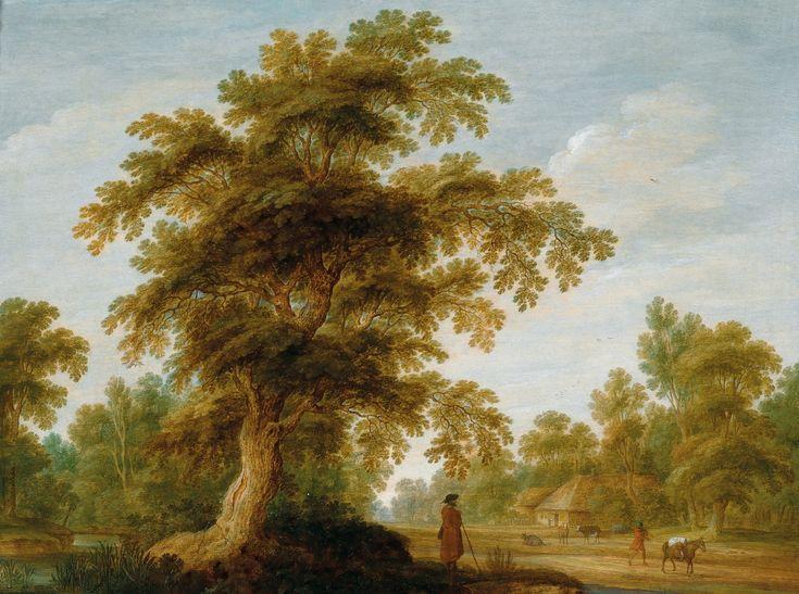 Alexander Keirincx, Лесной пейзаж с фигурами (Wooded Landscape with Figures) 37 х 48_д.,м. Частное собрание