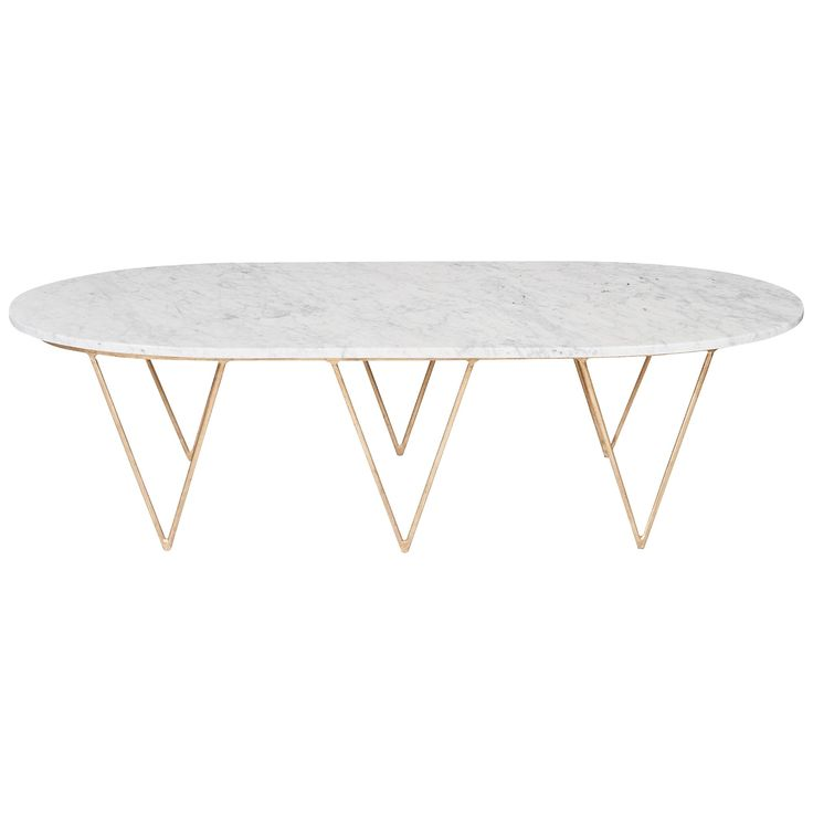 Oval Hairpin Coffee Table with White Marble Top. Available in gold or silver leaf.