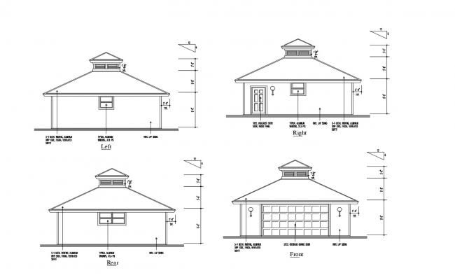 Drawing Of The House With Different Elevation In Dwg File House Elevation Elevation Metal Roof
