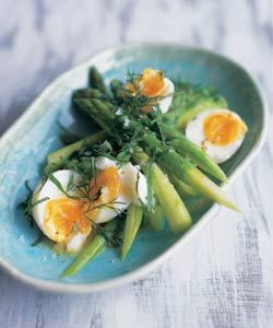Les oeufs modestes. (French 'Modest Eggs')  Soft boiled eggs with Asparagus Spears and Lemon Juice