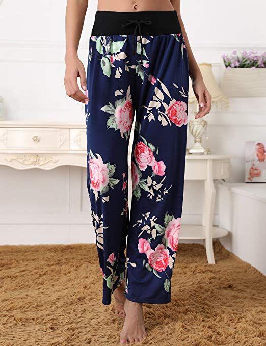 Pantalon Femme Pyjama Fluide Eté Léger Ample Elastique d intérieur Jogging  Détente Yoga Pants Grande Taille Chic Floral Imprimé Jambe Large Pantalon  de ... f685ad9f07e