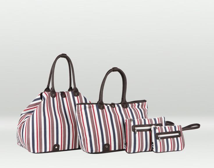 Maiorca, borsa e pochette da spiaggia rigata