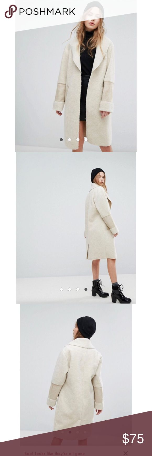 Asos New Look Faux Shearling Teddy Coat No tags but brand new! Adorable and warm! Elevates a casual outfit and adds detail to any look. I ordered it in a medium and small, took the tags off of both in a fury and now I can't return it but has never been worn and is totally sold out. New Look Jackets & Coats