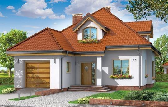 Projekt Zuzia, to bardzo praktyczny a zarazem uroczy dom jednorodzinny. W sam raz dla cztero-pięcioosobowej rodziny planującej budowę. Budynek jest parterowy, z poddaszem użytkowym, przekryty czterospadowym dachem, z częściowo wbudowanym w bryłę garażem. Bryła ozdobiona jest dużymi lukarnami poddasza, wejściem z zadaszeniem i kolumną, wykuszem jadalni i podcieniem ogrodowym. Tradycyjna forma polskiego domu została podana w nowoczesnym, świeżym ujęciu.