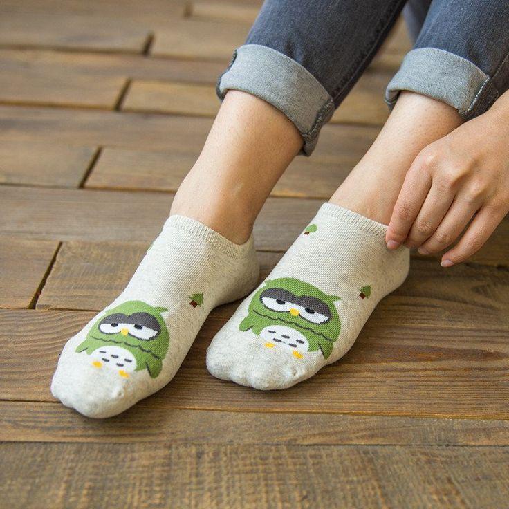 KC Owl Print Socks (Green) #Green #Socks