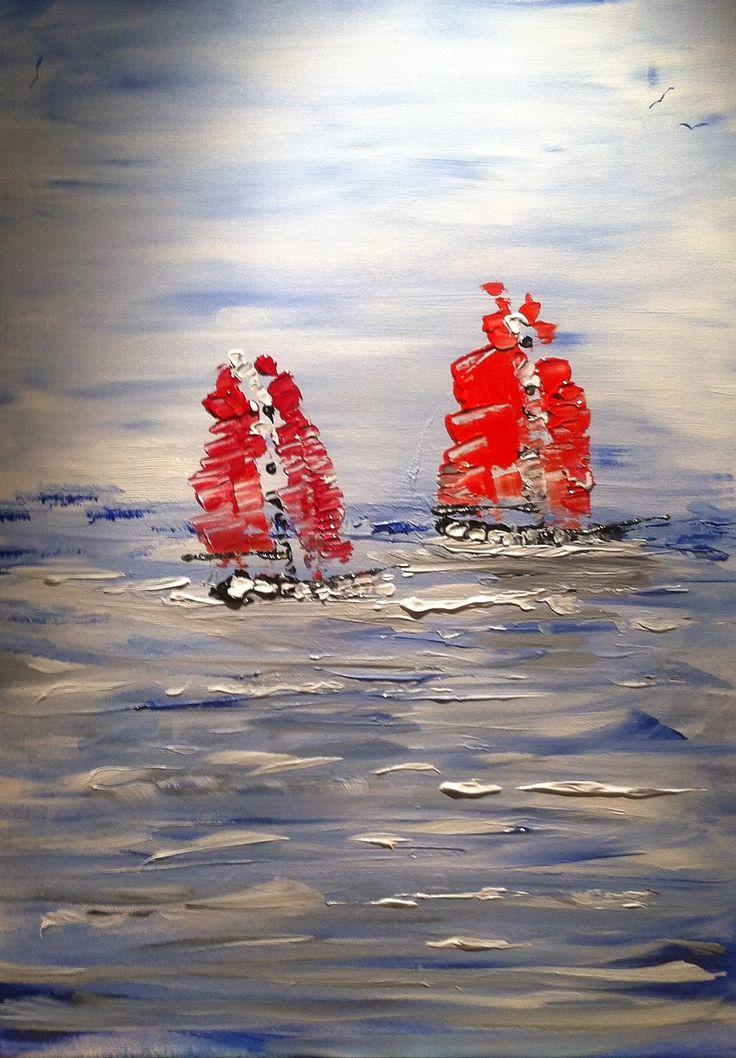 rote Segler vor Warnemünde -> Sell Your own art at www.argato.de! #Artwork #kunstwerk #painting #modernekunst #malerei #galerie #artist #eventart #diekunstmacher #abstraktekunst #modernart #modernpainting #painter #abstractpainting #galleryart