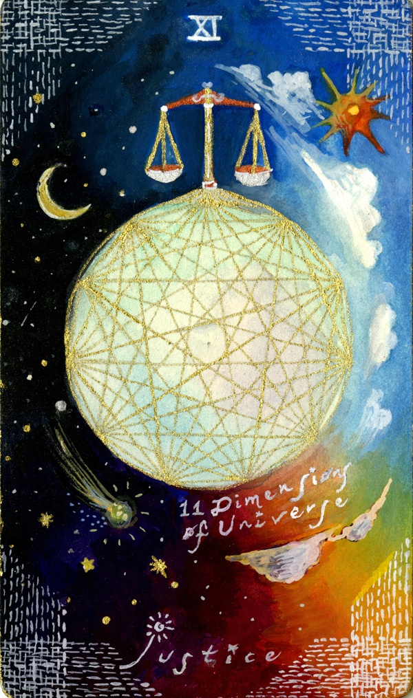 Astro-Tarot Cards: Justice (11 dimensions of the universe) @skyfiery kinda childlike but this deck's artwork is so cute & really appeals to me :D
