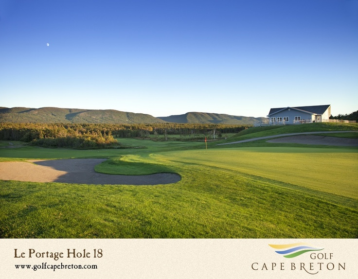 """With stunning scenery of the Cape Breton Highlands and the Atlantic Ocean, Le Portage's sixty sand bunkers and strong prevailing winds (""""Su-ete's"""") amount to a great test of golf in an area which seeks to become a home base for visitors planning to play Cabot Links (45 minutes' drive) and Highlands Links (one hour)."""