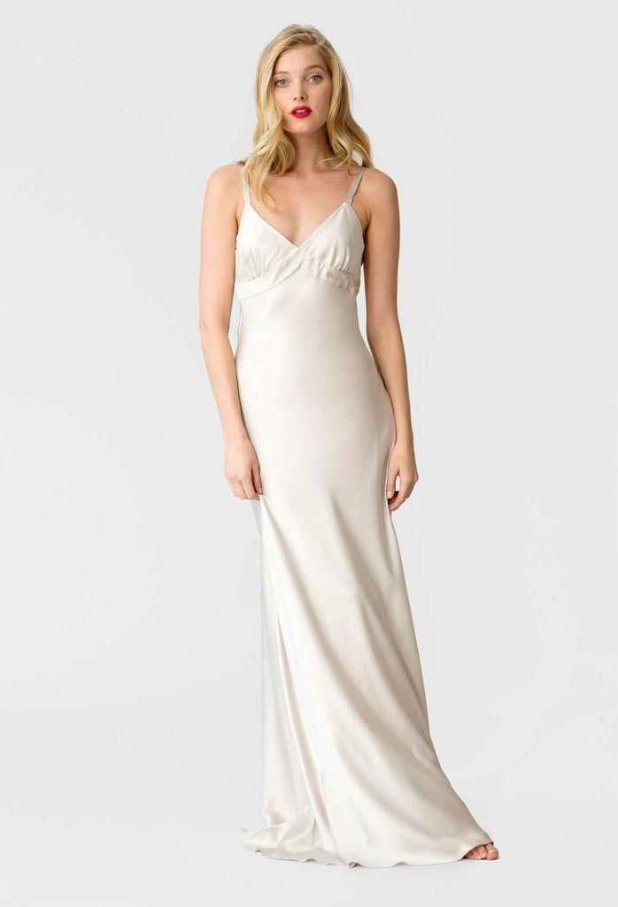 Stone fox bride nyc bias slip silk wedding dress the for White silk slip wedding dress