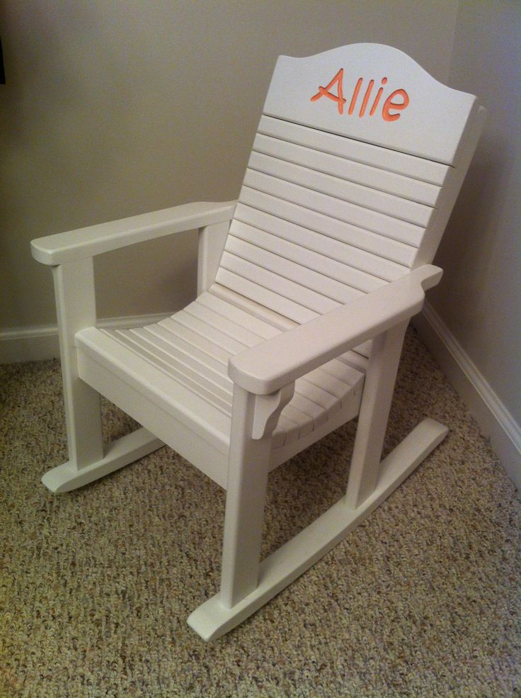 Adorable Personalized Childrens Rocking Chair (hand Made And Hand Carved)!  You Can