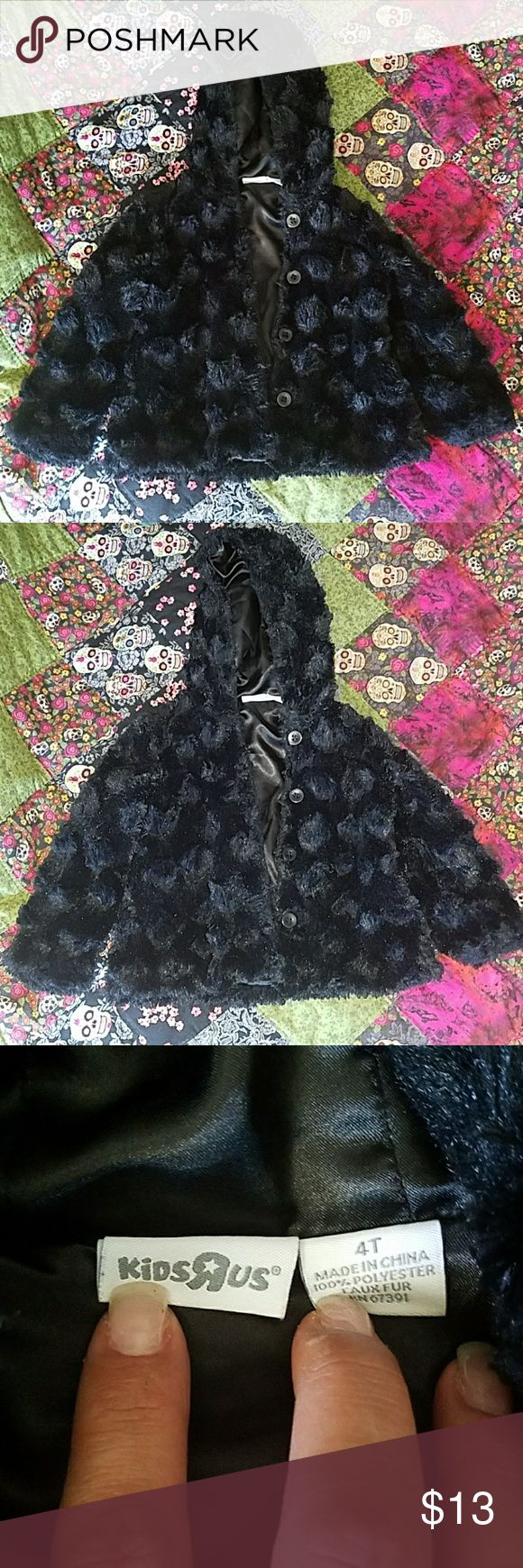 Black faux fur coat (with hood) Never worn but no tags. No rips, holes or tears in the lining. All buttons intact kids r us Jackets & Coats