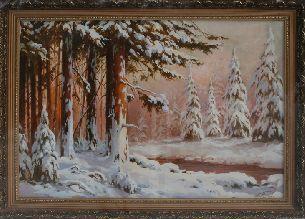 Заснеженный лес - Зимний пейзаж <- Картины маслом <- Картины - Каталог | Универсальный интернет-магазин подарков и сувениров