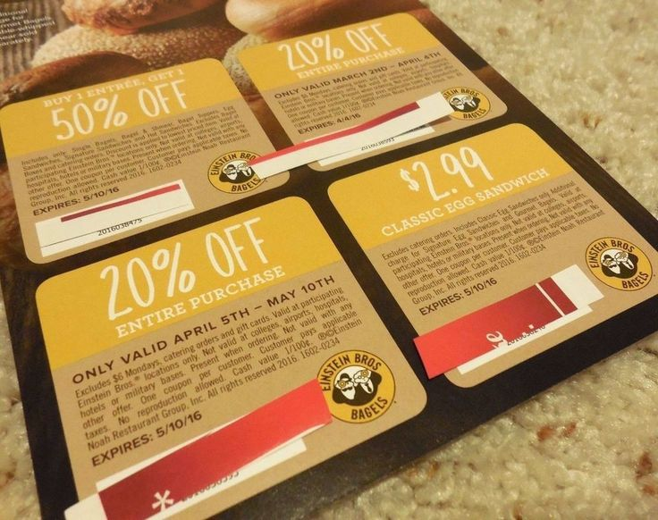 EINSTEIN BAGELS COUPONS Sheet Lot of 4 20% Off Purchase $2.99 DEAL Savings SAVE!