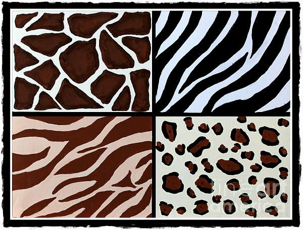 Animal Patterns - Zebra - Giraffe - Leopard - Tiger by Barbara Griffin. Animal patterns in a tile effect.