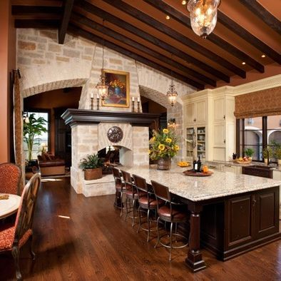 Fabulous Kitchen, Double Sided Fireplace Braswell Architecture