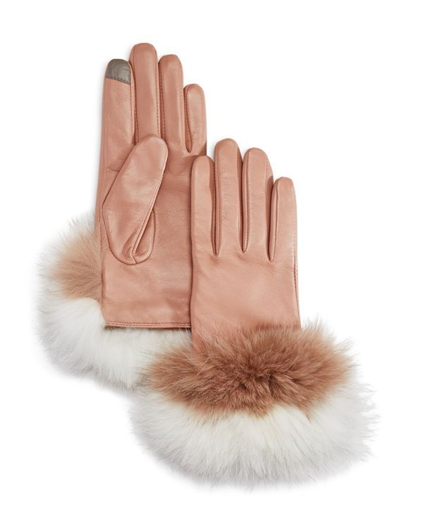 Echo Fox Fur Trim Leather Gloves