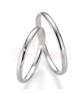 Βέρες γάμου λευκόχρυσες με διαμάντι breuning 4303-4304