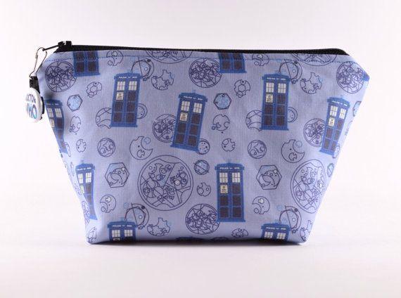 Dr Who Make Up Bag Tardis Bag Sci Fi Bag by TheCuriousNeedle, $21.00