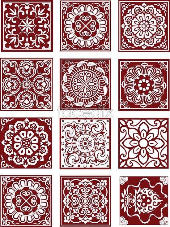 Free download Traditional Chinese pattern Vector. traditional style, Chinese style pattern, checkered patterns, wind pattern picture material, pattern AI vector