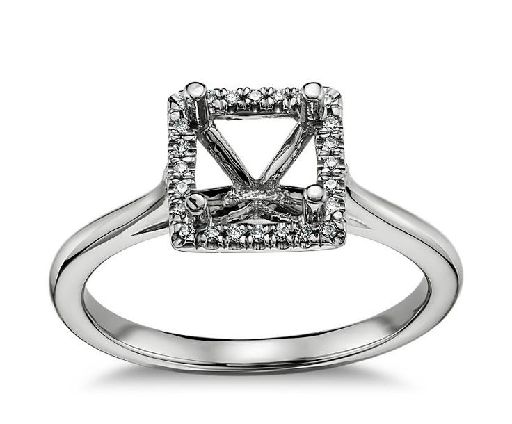 plain shank princess cut halo engagement ring in 14k white