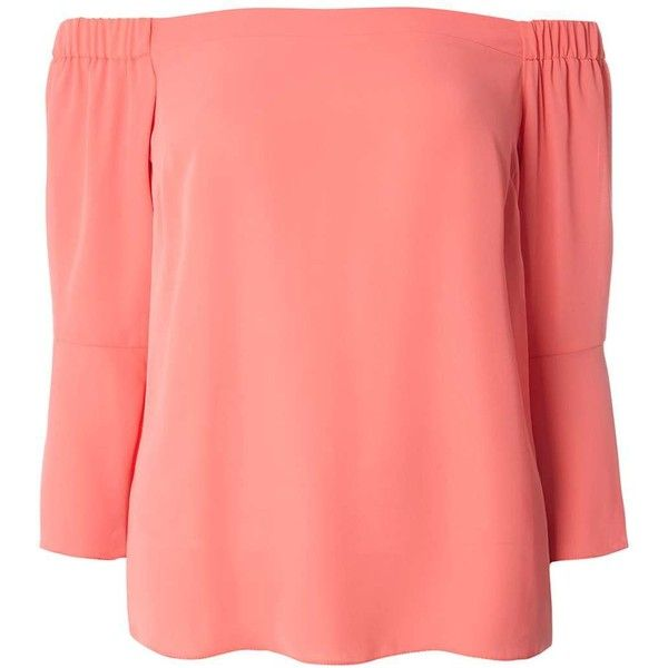 Dorothy Perkins Coral Flute Sleeve Bardot Top ($39) ❤ liked on Polyvore featuring tops, coral, dorothy perkins, coral top, red top and sleeve top